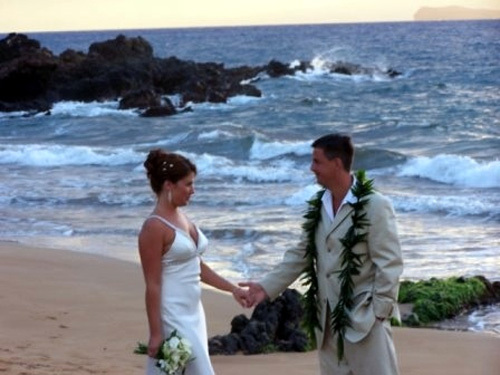 Jason and I on the beach of our wedding ceremony in Maui