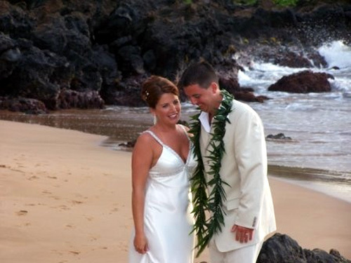Having a laugh after our ceremony on the beach in Maui
