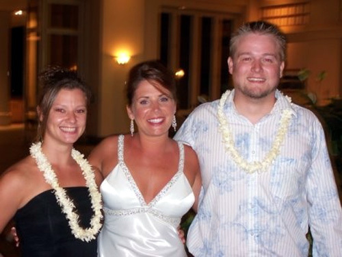 Two of our friends from high school Adam and Andrea. They moved out to Maui two months before we got married. We couldn't have planned it better that they were there with us.