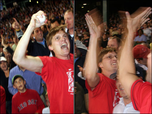 The enthusiastic Bagnato had an extended celebration with fans in his section and exclaimed 'that was a two-run jack.'