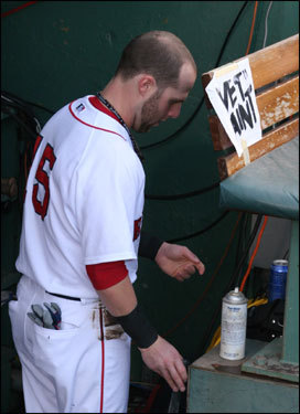 Red Sox rookie second baseman Dustin Pedroia's uniform was already dirty as he went through final preparations before taking the field in a major league playoff game for the first time in his career.