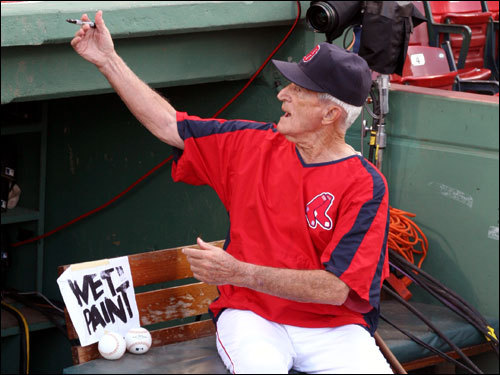 The 88-year-old Pesky was enthusiastically signing balls and entertaining the Fenway faithful prior to the game.