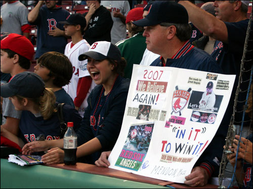 Phil Dunlavey from Mendon brought a sign to Fenway to show his support for the home team. Dunlavey was here for the 2004 playoffs and said the starting pitching on the '07 squad was stronger than the '04 championship team.