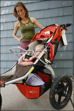 Stroller envy is a curious affliction that makes otherwise sane and secure parents feel woefully inadequate in the presence of hefty-priced prams -- and ashamed of themselves for wanting one. These are some of the precious strollers. At left, Emily McCavanagh and her daughter Sylvie have a $450 Bob stroller.