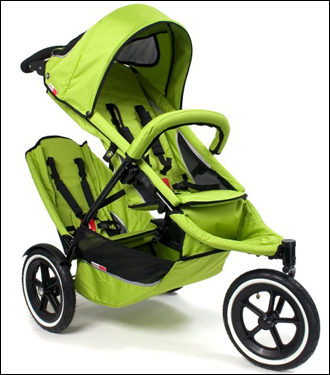 This double-decker stroller for two weighs just 24 pounds and can be used for newborns up to 4-year-olds. It comes in a green apple, sand, red, orange, navy, black, blue camo, and charcoal.