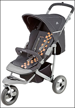 This baby stroller has an 'all-terrain travel system' of three wheels, and reversible seat liner.