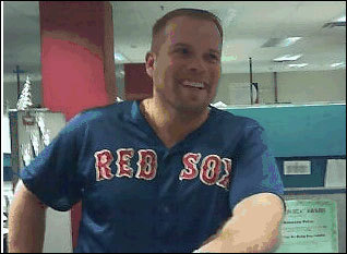 Randy Tate of Tampa (a Yankees fan) was forced to wear this Red Sox gear after losing a bet to a friend. Tate bet the Yanks would win the division.