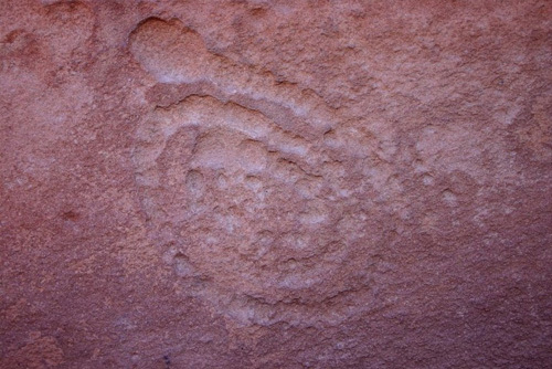 A petroglyph seen in Flagstaff Arizona at the Wupatki Ruin site.