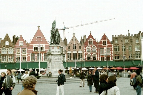 13th century market square in the heart of Bruges