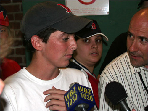 Fans yelled messages of support for Vinik as he was being interviewed. One called him the new president of Red Sox Nation. Others called him the anti-Bartman. And one fan wondered if it was Clay Buchholz being interviewed at the impromptu press conference.