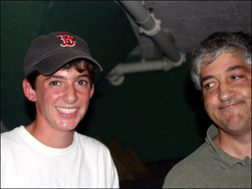 Neither Red Sox limited parter Jeffrey Vinik (right) nor his son Danny had ever caught a foul ball from their front-row seats before. The senior Vinik was well-known for running Fidelity's Magellan Fund. He started his own company, Vinik Asset Management, in 1996 and is currently a limited partner of the Red Sox. 'It was unbelievable,' said the young Vinik. 'Just seeing it up there, sticking my hand out there, and it just landed in my hand. I don't remember really what happened. Just unbelievable, amazing.'