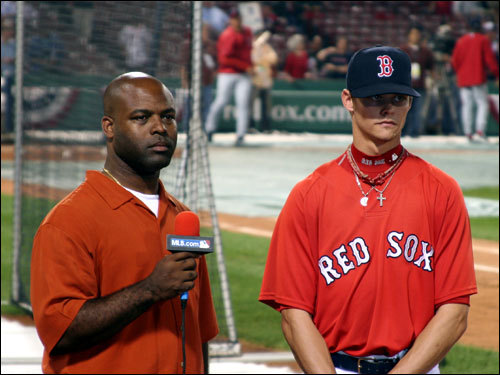 Clay Buchholz, of no-hitter at Fenway fame, was in the house. Here, he's about to be interviewed by MLB.com prior to the game.