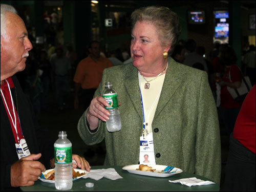 Honorary president of the American League and former Angels owner, Jackie Autry ( Fenway video interview ), enjoyed a sausage down in the concourse on the first-base side before the game. Autry is widow of legendary singer, actor, businessman, and former Angels owner Gene Autry.
