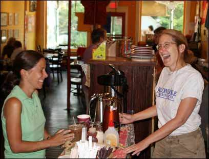 Elmer's owner Nan Parati, right, and Anne Walker Matziah, a visiting New Yorker