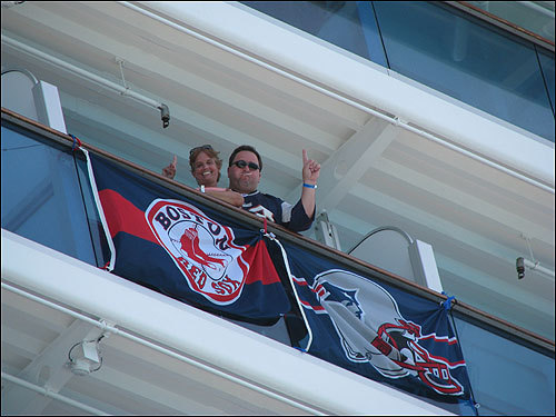 The Rondeaus showed their Sox and Patriots pride while aboard the Caribbean Princess Cruise.