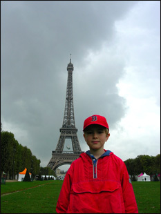 Wilson, formerly of Cambridge and now living in Switzerland, wears his Red Sox hat proudly in Paris.
