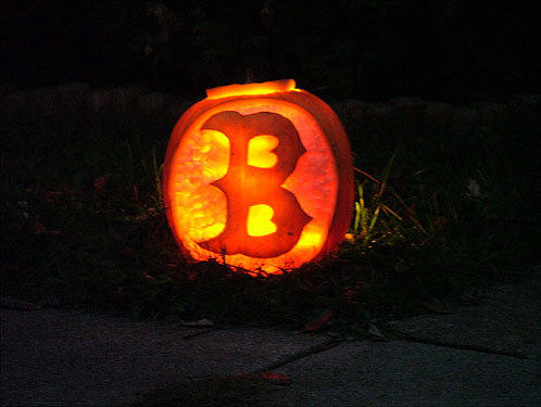 Joshua Dartt of Bloomington, Ill., shows off his carving skills and his loyalty to the Red Sox with this picture.