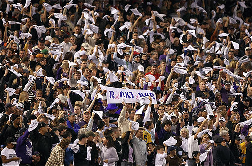 Rockies fans held a 'Rocktober' sign in support of their team before the game.