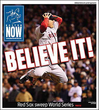 Papelbon's leap after the final out made the front pages of BostonNow ...