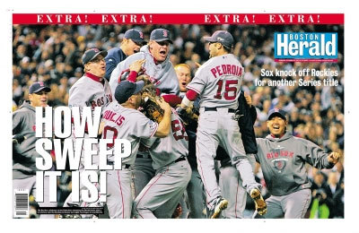 The postgame celebration was featured on the front page of the Boston Herald ...