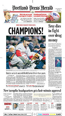 The front page of the Portland Press Herald of Maine featured third baseman Mike Lowell, who was named the World Series MVP.