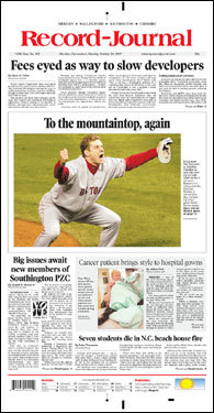 The Record-Journal of Meriden, Conn., ran a picture of Jonathan Papelbon after he struck out Seth Smith to end the Series.