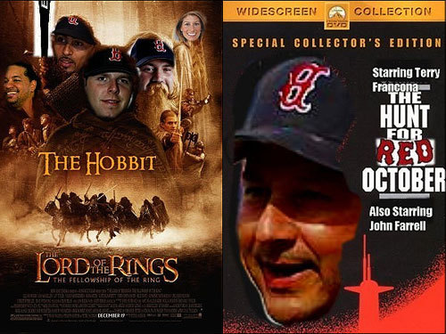 Nate Sadoian of New Britain, Conn., sent these two movie posters in tribute to Dustin Pedroia and Terry Francona.