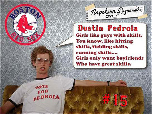 This tribute to Dustin Pedroia's skills came from Brian St. Marie of Chicopee.