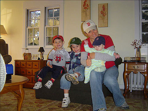 The Craddock family in Chicago showed that there is a Red Sox Nation presence in the Midwest. Left to right: Ryan, Jack, Mindi, and Paul.