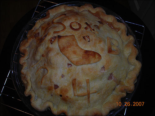 Peggy Egan of West Newbury made this pie, complete with a prediction of a sweep, in honor of her favorite team.