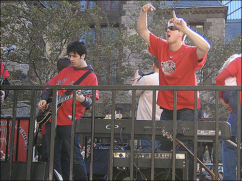 Jonathan Papelbon rocked out with the Dropkick Murphys on Boylston Street. Submitted by Jason Landry.
