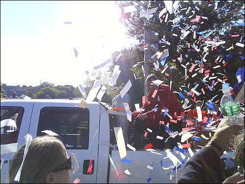 Revelers were sprayed with confetti. Submitted by Cara Teller.