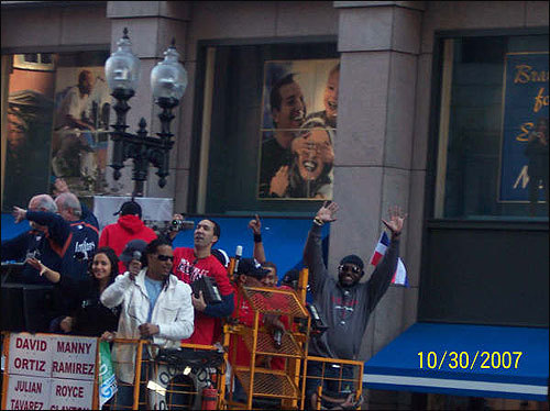 Manny Ramirez and David Ortiz raised their arms in victory. Submitted by Lisa Wedge.