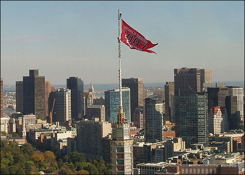The old John Hancock building flew a Red Sox World Series flag from its tower, usually reserved for announcing the weather. Submitted by Dean Mini.