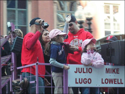 Julio Lugo and Mike Lowell passed by Arlington Street. Submitted by Sanj Kharbanda.