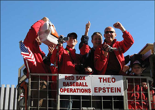 Theo Epstein and the front-office staff videotaped the crowd at the rally. Submitted by Kim Lapine.