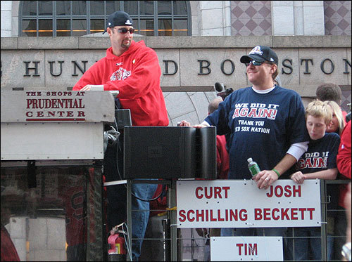 Tim Wakefield and Curt Schilling took in their second Red Sox rolling rally. Submitted by James Lema.