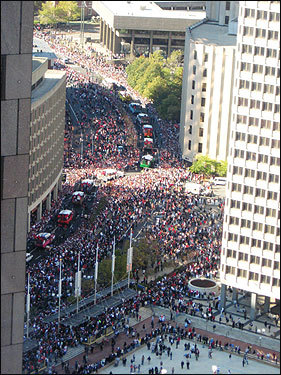 A view of the rally from the State Room at 60 State Street. Submitted by Joanna L. Ouellette