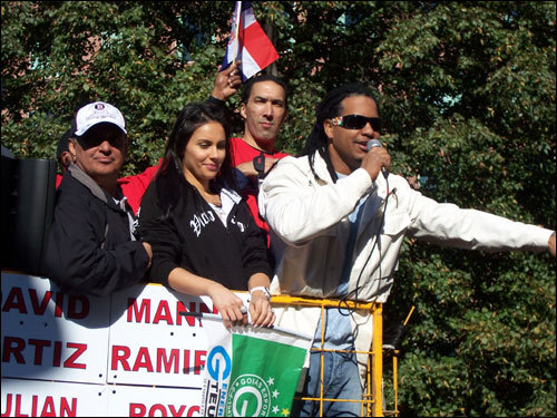 Manny Ramirez spoke to the crowd at the corner of Bowdoin and Cambridge in this shot taken by Jessica Cogswell.