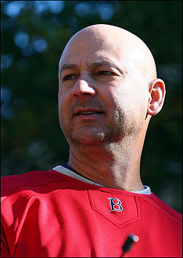 Sox manager Terry Francona looks out at fans during the victory parade.
