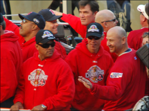 Terry Francona rejoiced at the parade with the rest of the gang. They were photographed by Chuck Conley.