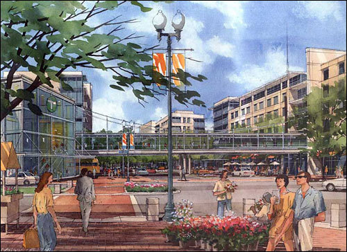 Another 2004 artist's rendering shows the bustling streets of the proposed 'mini-city,' which also included a new MBTA Green Line station. Under a 2001 agreement, the Boston and Maine Corp. and Cambridge North Point LLC formed a separate company to plan, permit, and build 2.2 million square feet of commercial and retail space, about 2,500 residential units, and garage space for 5,000 vehicles. But in 2007, the partners accused each other of breaching the contract.