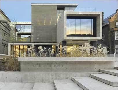The Gardiner Museum, built in 1984, was remodeled inside and expanded outside, adding a glass pavilion that looks out on the city's skyline.