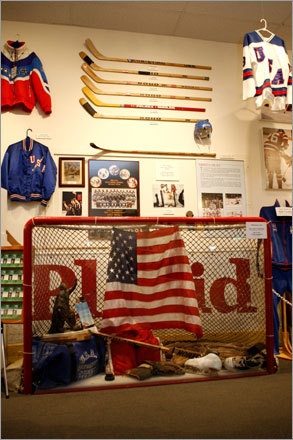 The 1980 hockey goal is among the team's equipment on display at the Olympic Winter Museum.