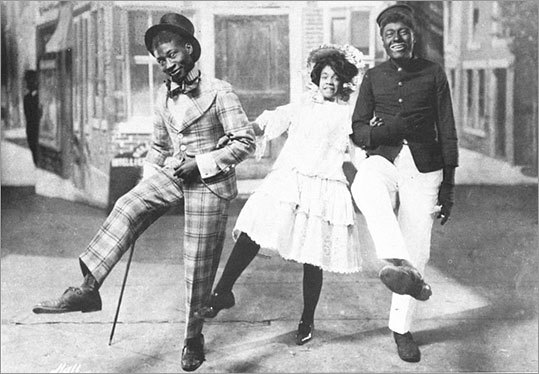 George W. Walker (left) as Rareback Pinkerton, Aida Oveton Walker as Rosetta Lightfoot and Bert Williams as Shylock Homestead in 'In Dahomey,' which opened in 1902.