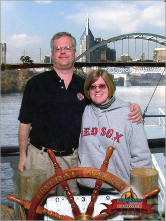 Frank and wife, Debbie, visited Nashville while showing off their Sox apparel. They even got a free lunch at Jack's Bar-B-Que because he was wearing his Red Sox sweatshirt.