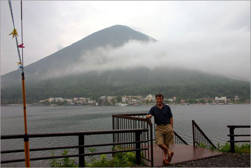 Alberto posing with Mt. Nantai at Lake Chuzenji. The site of this mountain became visible only for a 5-minute period. It was otherwise shrouded in thick fog for our two-day visit to the area.
