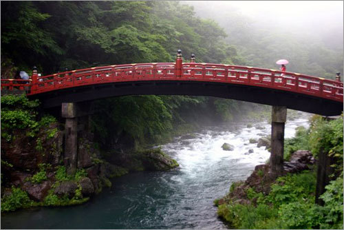 In Nikko, the Sacred Bridge on the Daiya River was a sight to behold in spite of the driving rain.