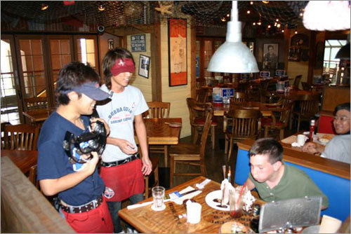Eric celebrates his 13th birthday at Bubba Gump's Restaurant at Universal Studios Japan.