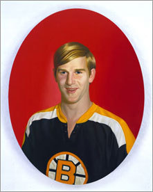 Artist Kurt Kauper drew on his childhood love of hockey and the Boston Bruins for a series of paintings that have received attention recently. The paintings include this one of former Bruins great Bobby Orr.